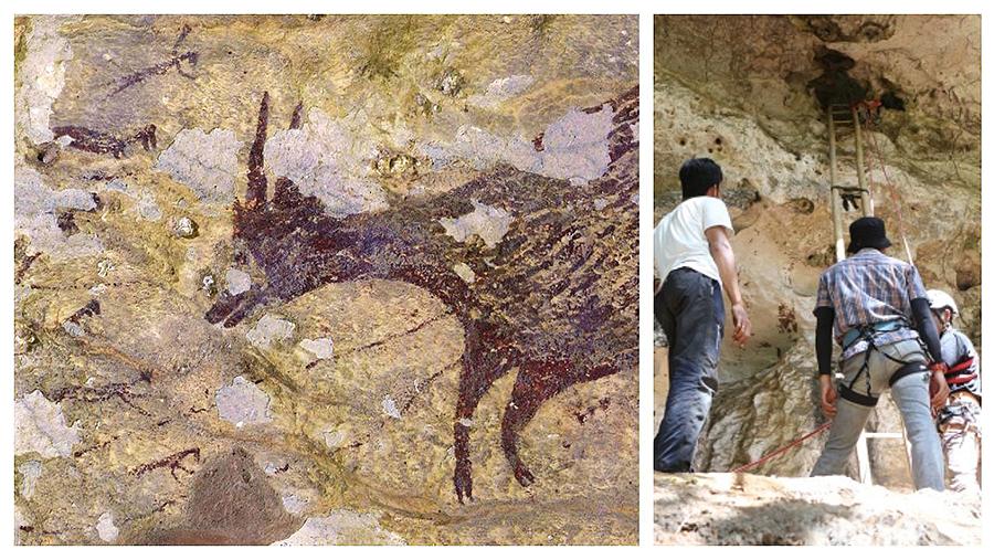 Descubren en la islas Célebes la escena de caza más antigua del mundo, que data de hace 44.000 años Al menos ocho figuras humanas y seis animales, en las pinturas rupestres descubiertas en una cueva de Indonesia por arqueólogos australianos
