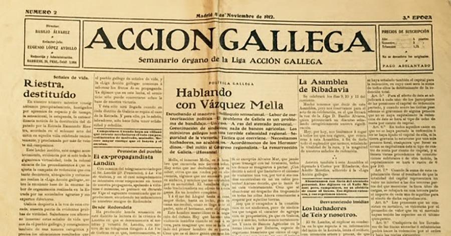 En 1910 se publicó en esta fecha el primer número de la revista Acción Gallega, dirigida por el líder del agrarismo Basilio Alvarez